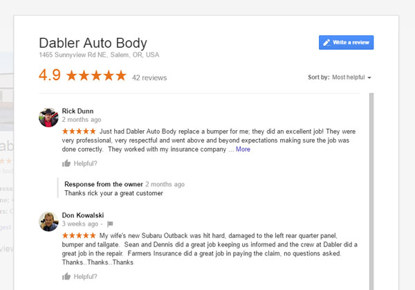 Dabler Auto Body, 4.9 reviews by Google for auto repair