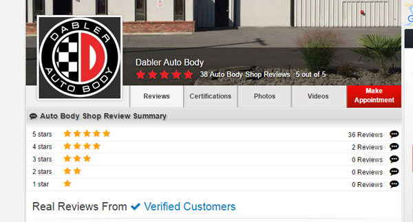 Autobodyreviews.com has Dabler with a perfect 5 stars, for auto body repairs..