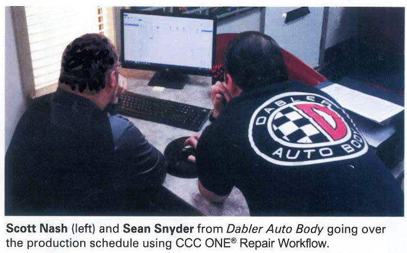 Dabler Auto Body staff in Salem, OR going over production schedule on CCC One.